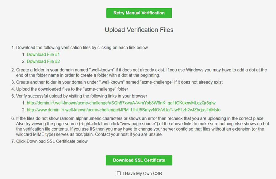 دریافت فایل از سایت sslforfree برای احراز هویت دامنه
