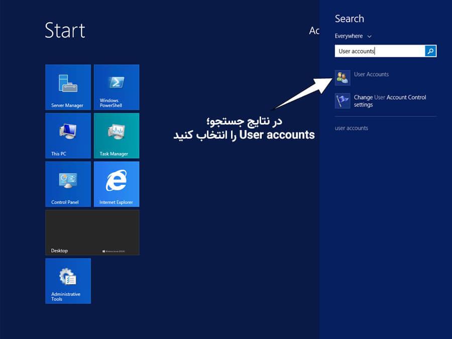 تنظیمات user accounts در ویندوز سرور 2012 و 2012R2