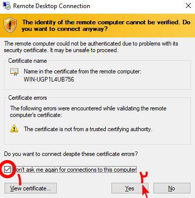 ارور certificate ریموتدسکتاپ