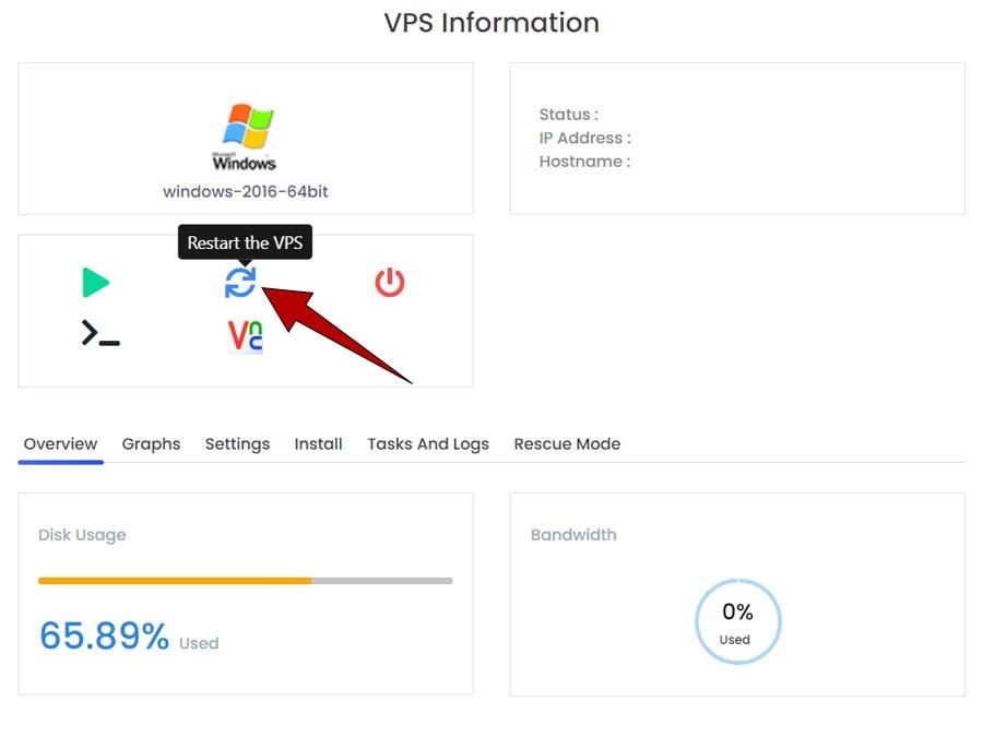 restart سرور مجازی از کنترل پنل virtualizor