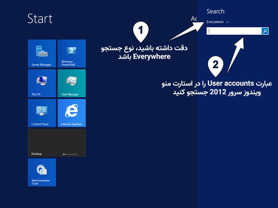 جستجو user account در ویندوز سرور 2012 و 2012r2