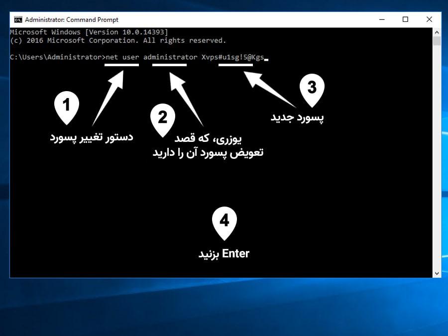 تغییر پسورد سرور مجازی با cmd